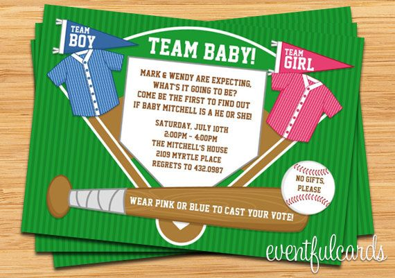 baseball team gender reveal party invitation pink and blue im