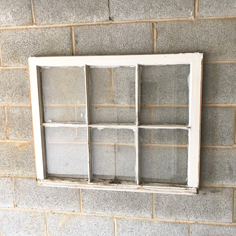 Vintage 6 Pane Window Frame - White, 34 x 27, Rustic, Wedding, Beach ...