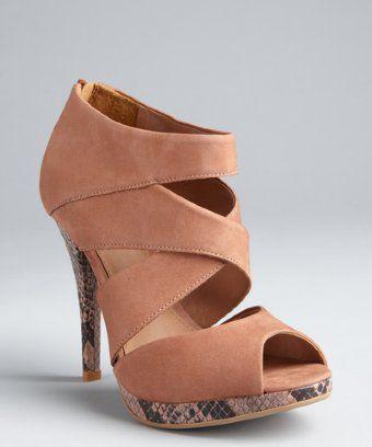 76acef3bcf2 Madison Harding mauve leather and snake skin embossed Mancini platform  sandals