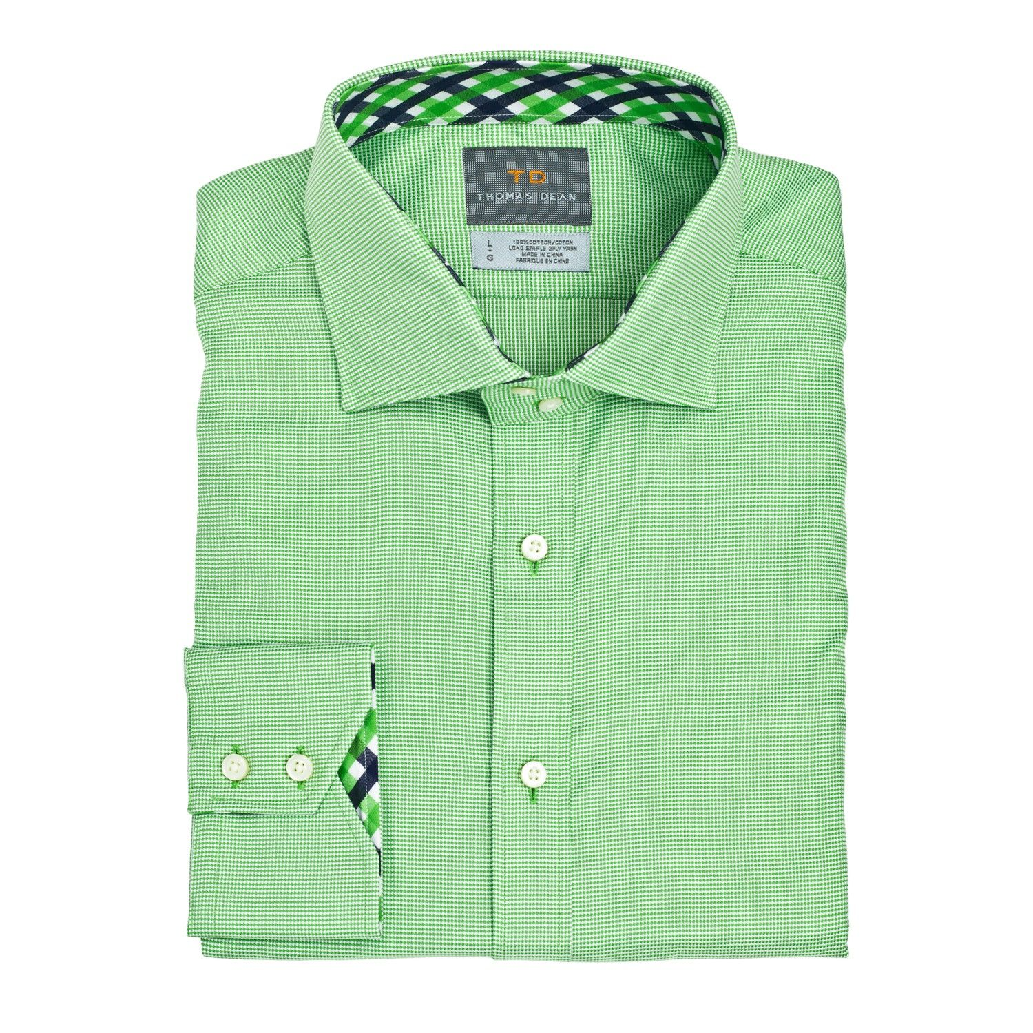 Thomas Dean Cotton Solid Long-Sleeve Button Down Sport Shirt in ...