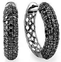 Mensstyle Earrings Black Rhodium Plated 10k White Gold Round Diamond Men Iced Out Hoop 3 Ct