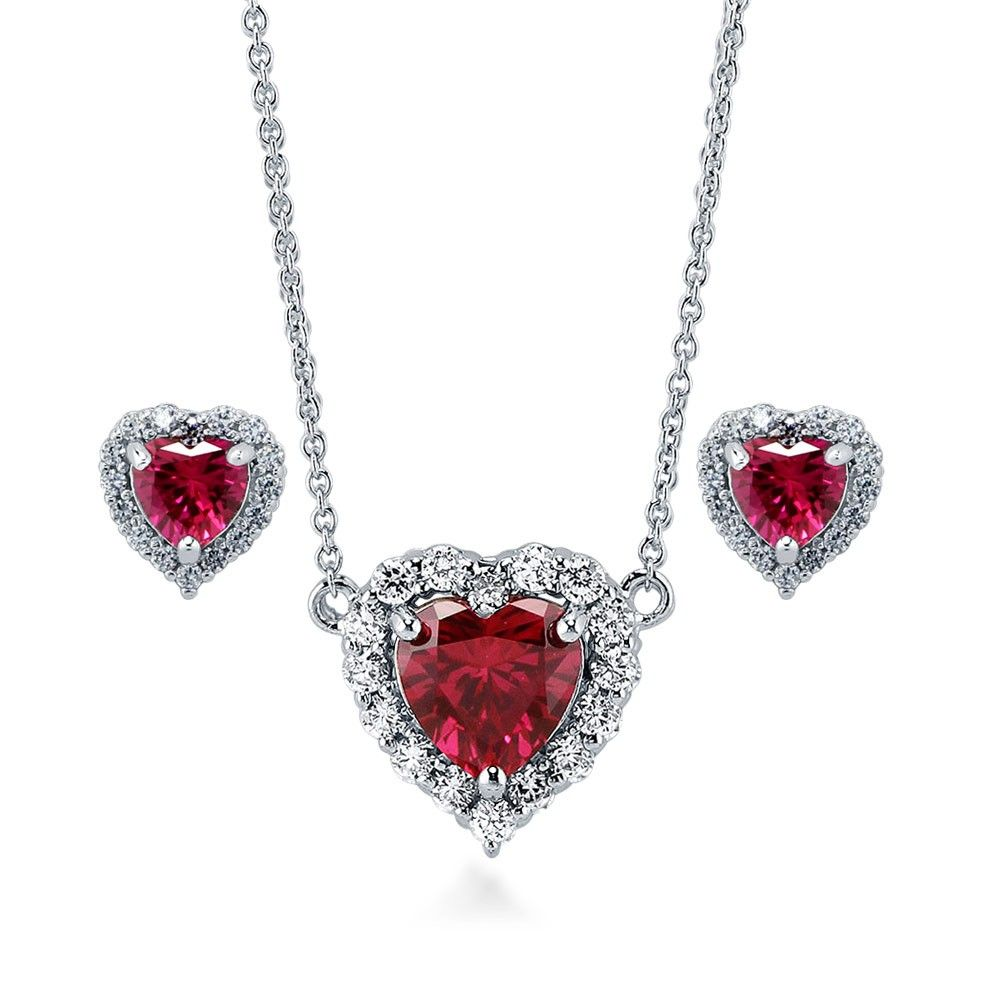 Sterling silver heart shaped simulated ruby cz halo heart necklace