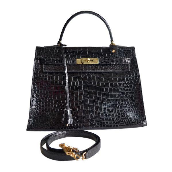 Pre-Owned Hermes Kelly 32 Black Crocodile Porosus ($14,500) ❤ liked on Polyvore featuring bags, handbags, black, multi color purse, vintage handbags, multicolor handbags, vintage crocodile handbag and vintage purse