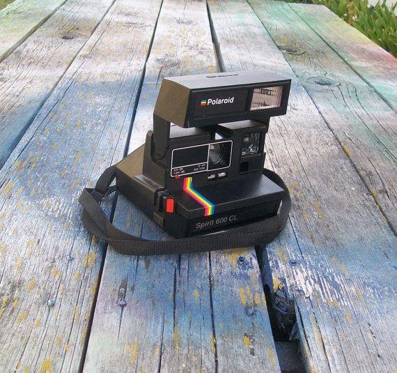 Vintage Polaroid Spirit 600 CL Camera Black with Rainbow Stripe by VintageCDChyld