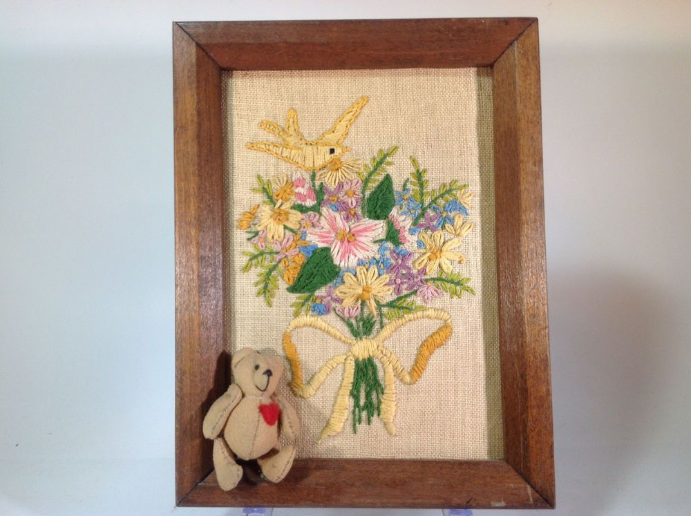 Vintage Needlepoint of Flowers, Bird and a Little Bear Sewn into the Piece