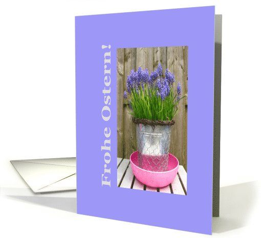 Common grape hyacints german easter greeting card