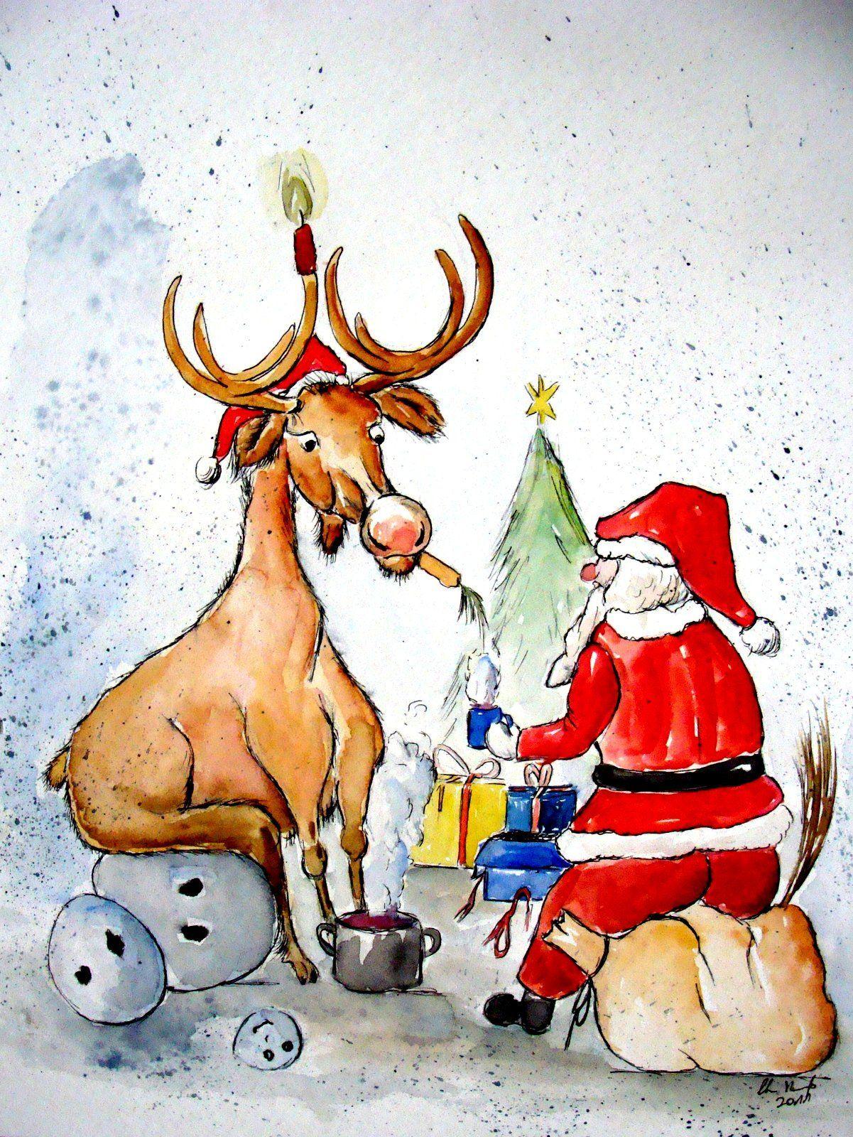 Frohes Weihnachten | Frohe Weihnachten | karikatur tierkarikatur tierkarikaturen | Malerei