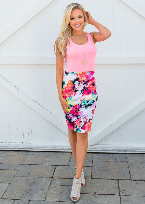 0bb53eef74 Office Hours Watercolor Floral Pencil Skirt Neon Coral/Yellow in 2019 |  everything | Pinterest