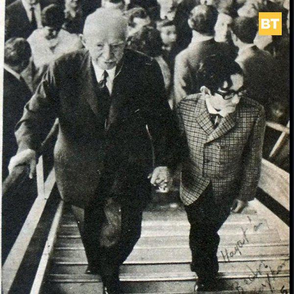 CHP Milletvekili Suphi Baykam'ın oğlu Bedri Baykam, İsmet İnönü ile, 1968.