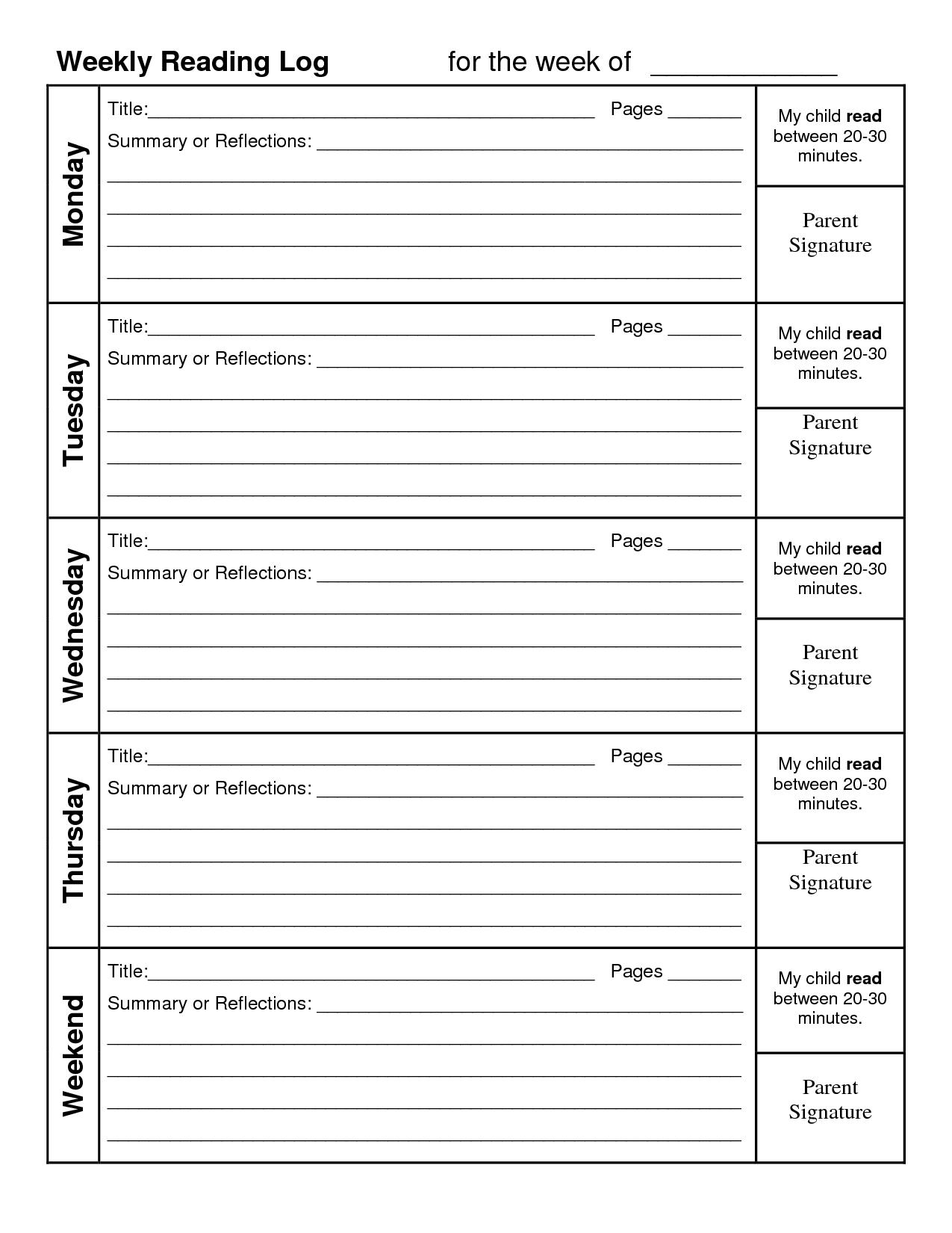 Log Reading Printable Weekly Calendar