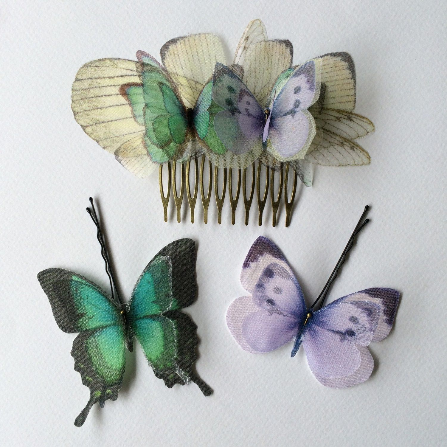 Another custom handmade hair comb and hair pins with lilac and teal (aqua) silk organza butterflies, for a special bride 💜
