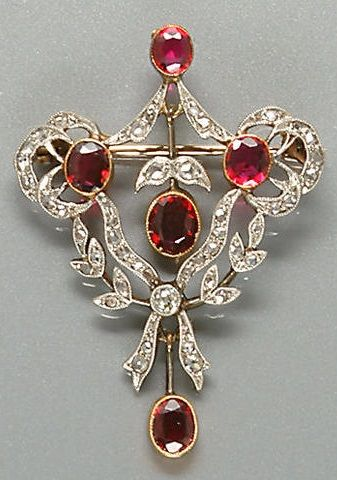 Belle Epoque Ruby and Diamond Brooch/Pendant -  c. 1905