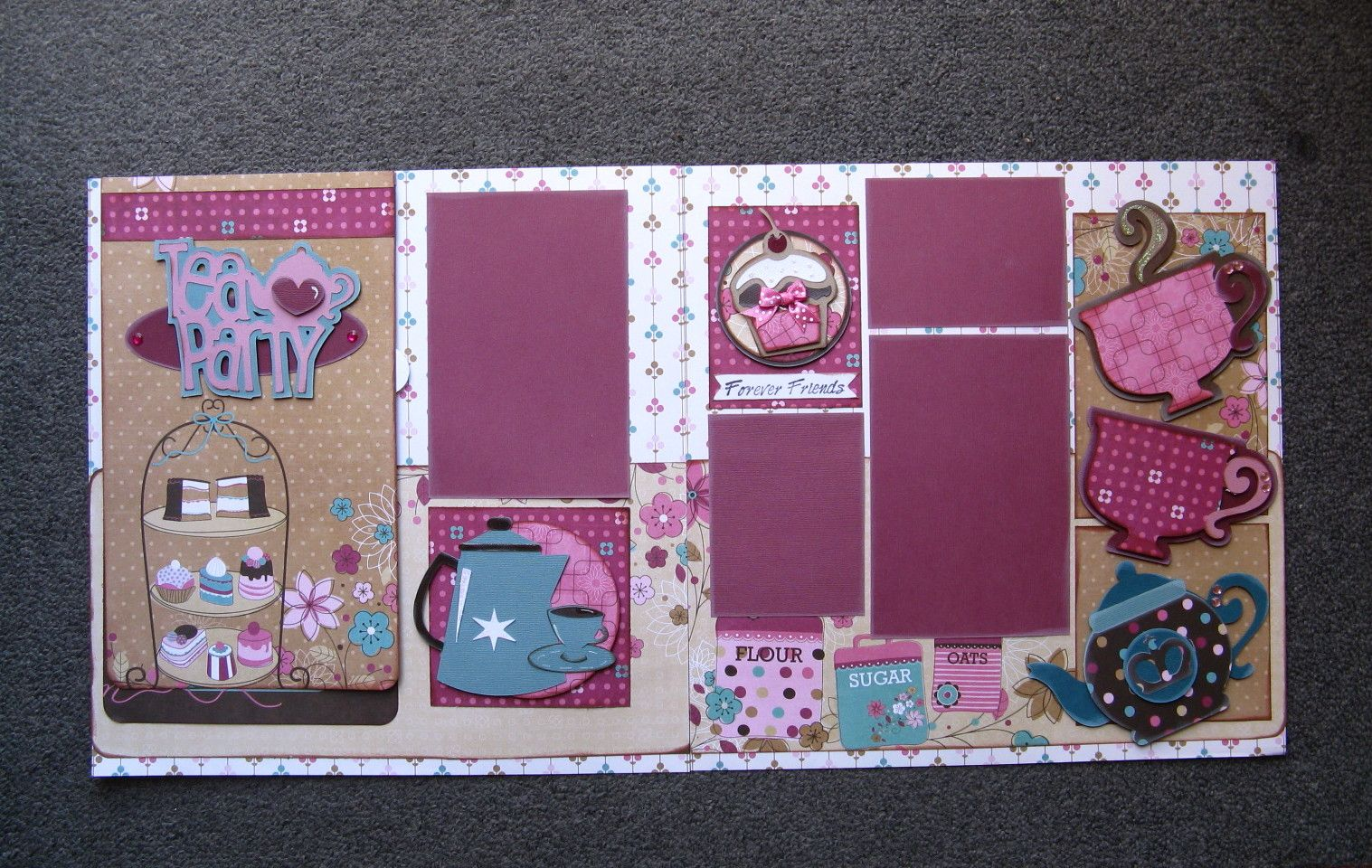 Scrapbook ideas hello kitty - Tea Party Scrapbook Double Page Used Hello Kitty Once Upon A Princess And From