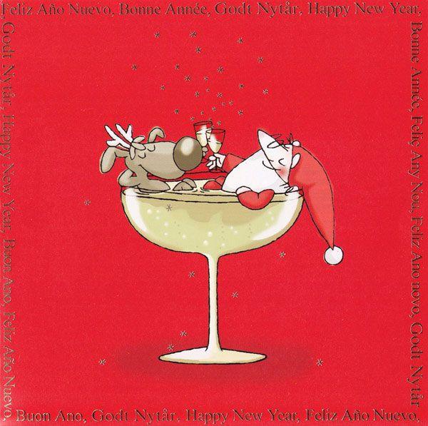 Julekort uden støtte. Motiv: Julemanden, Rudolf ...