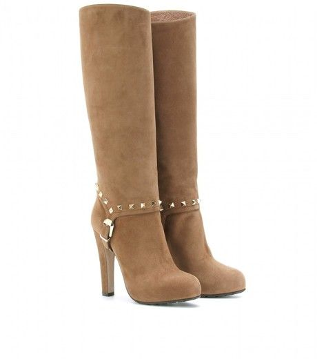 311b30b5272 Valentino Rockstud Suede Boots in Brown - Lyst