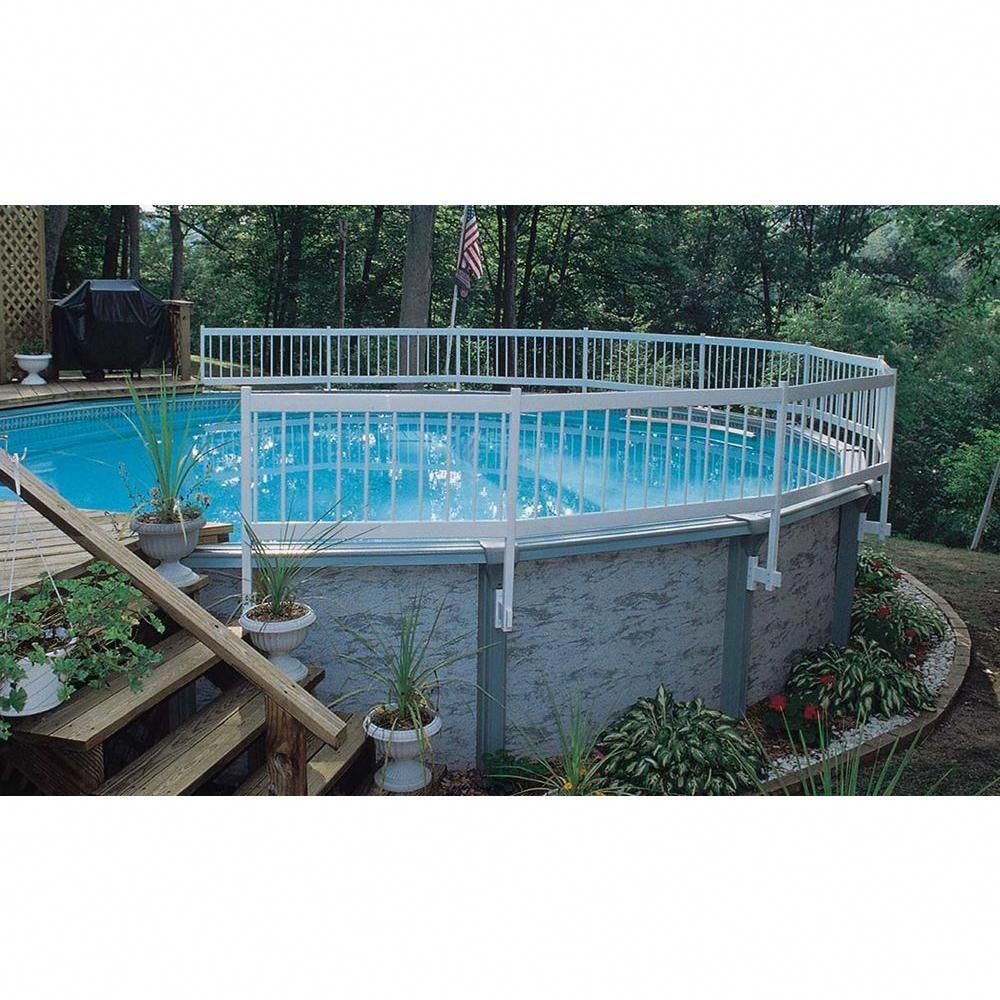 Gli Pool Products Above Ground Pool Fence Add On Kit C 2 Sections Ne147 The Home Depo Backyard Pool Landscaping Above Ground Pool Landscaping Backyard Pool