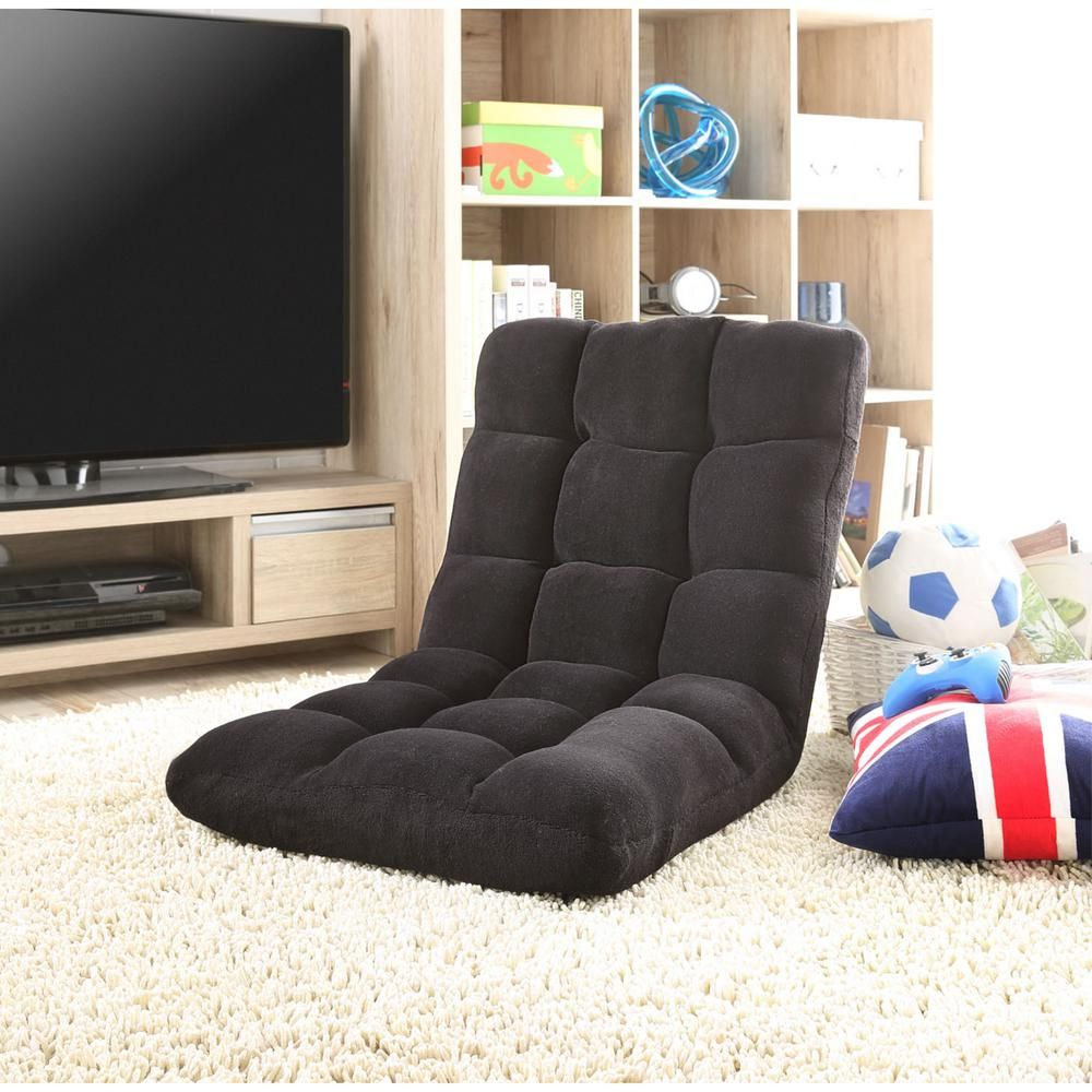 Loungie Microplush Black Quilted Folding Gaming Chair