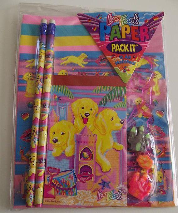 5f84c42580eb4 Vintage Lisa Frank Sandcastle Puppies Paper Pack It Stationery Set ...