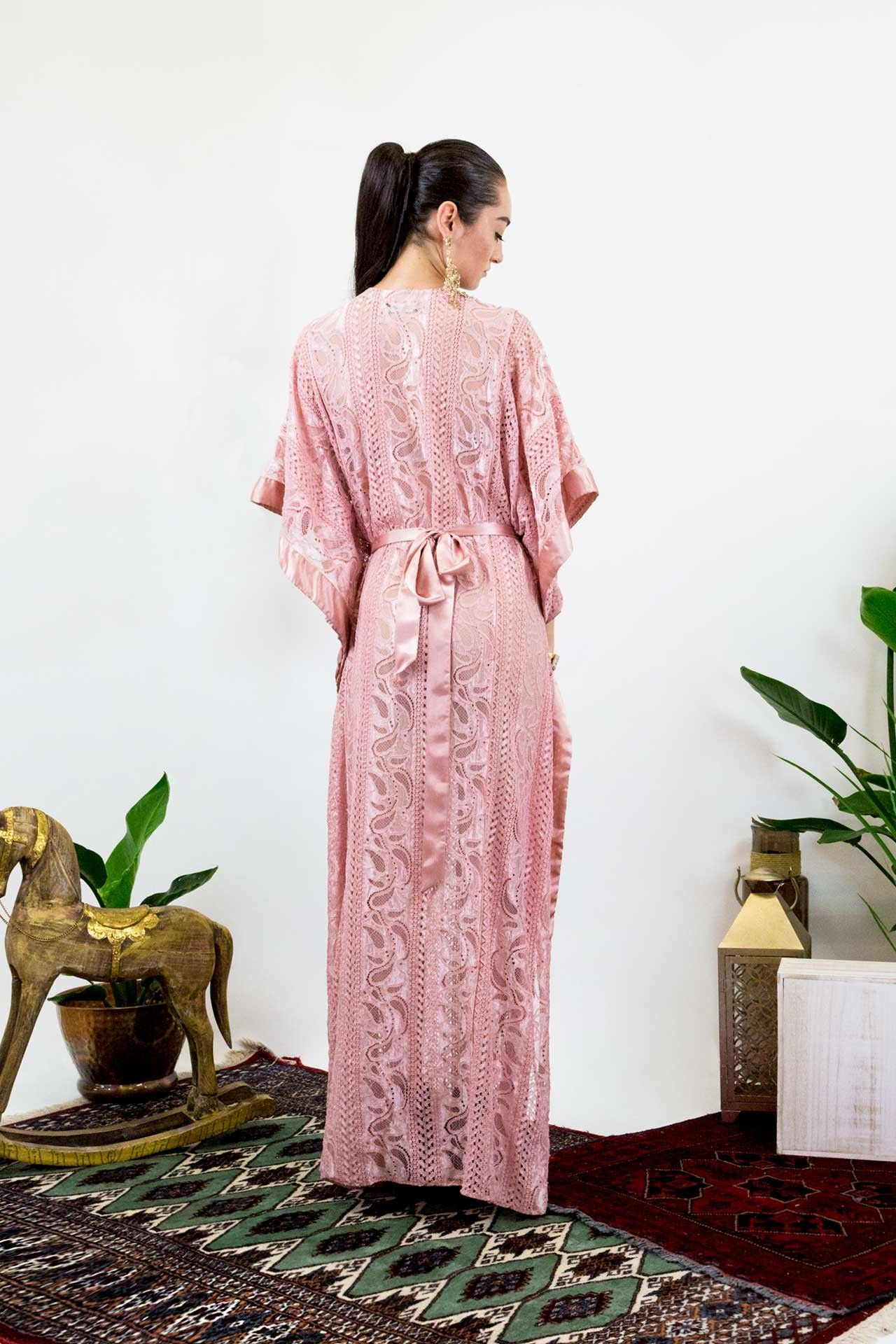 Light pink long lace kaftan dress designer womenus clothing