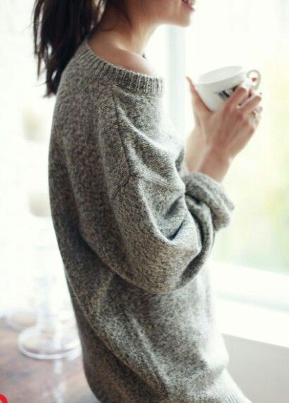 Comfy sweater & a cup of coffee. Perfect!!
