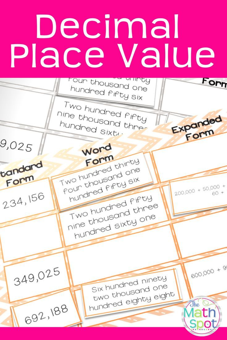 5th Grade Place Value Math Centers | Math activities ...