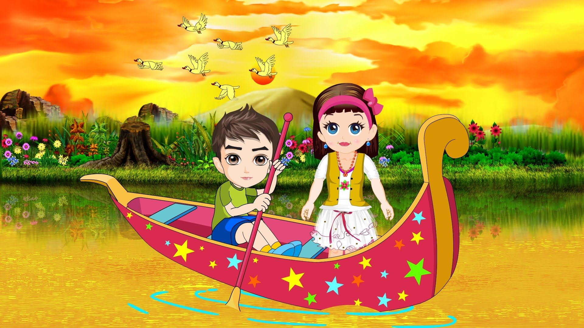Row Row Your Boat - Nursery Rhymes - Children Songs - Learning Songs ...