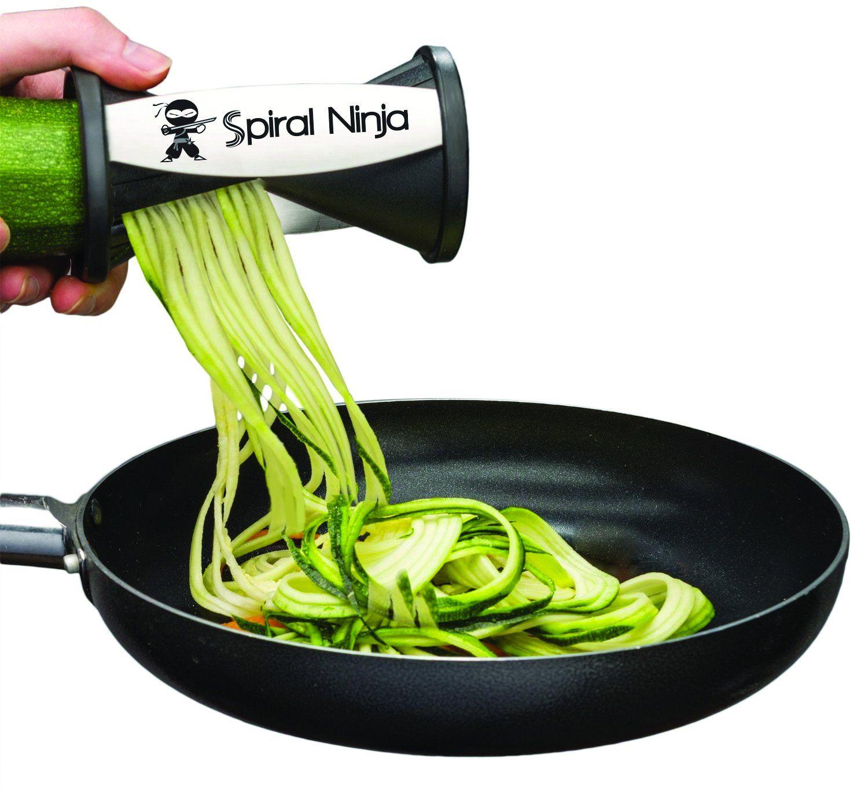 Spiral Ninja Slicer - Vegetable Spiralizer Bundle - Zucchini Veggie Spaghetti Pasta Maker - 2 Blade Sizes