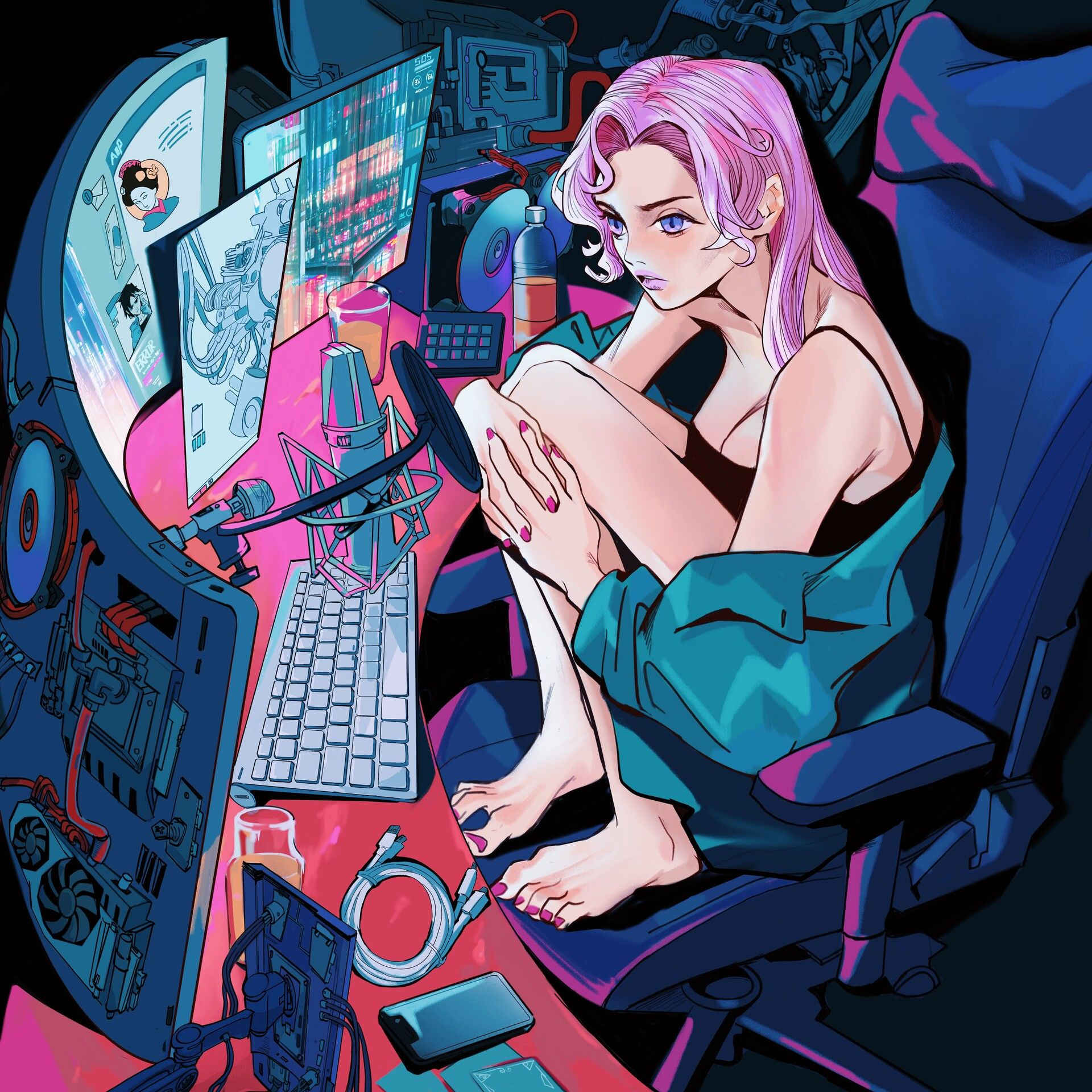 Otaku Girl By Yichun Hu Character Design Cyberpunk Art Cyberpunk Aesthetic