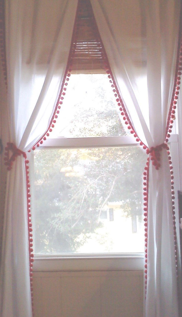 Red Pom Pom Trim Curtain With Tiebacks And Double Sided Pom Trim