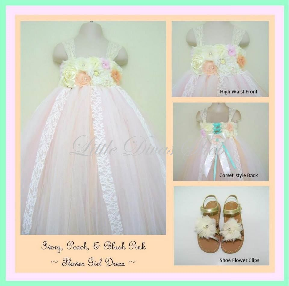 Blush pink girl dress  Peach Ivory blush pink and a touch of Sea foam Green  vintage