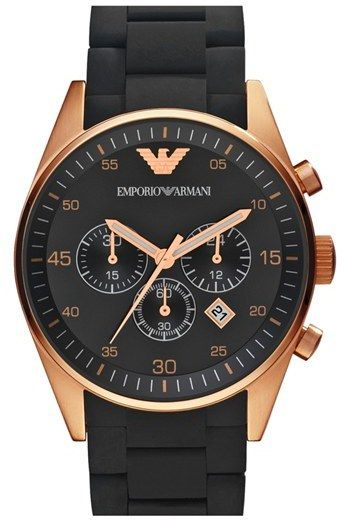 07d1bb6c19f Emporio Armani Rose Gold Plated Silicone Strap Watch