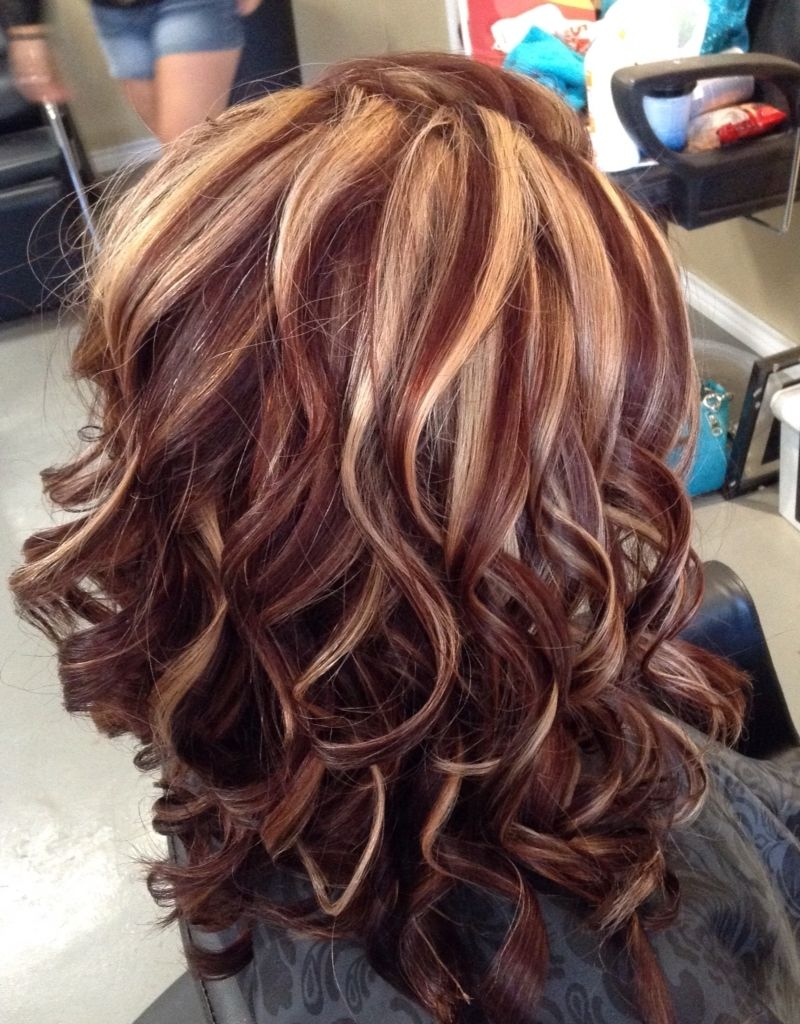 Dark Brown Hair With Blonde And Burgundy Highlights Brown