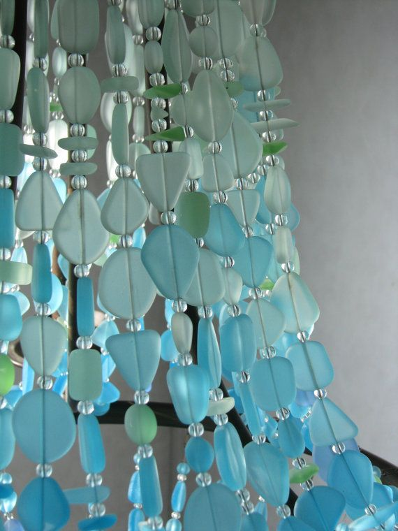 Sea Glass Lighting Fixture Chandelier Coastal Decor Beach Glass