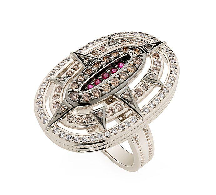 H.Stern - Anel de Ouro Nobre 18K com rubis, diamantes brancos e cognac