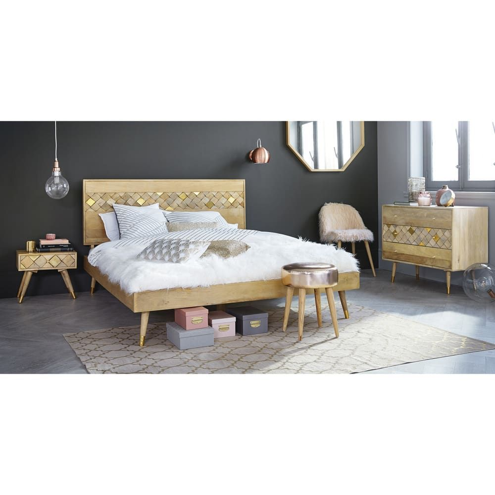 Mango Wood Bed 140 X 190 Home Bedroom Leather Dining Room