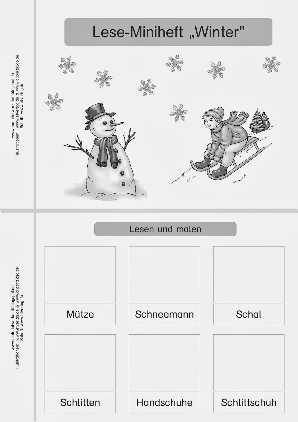 Materialwerkstatt Winter | arbeitsblätter deutsch / daz | Pinterest ...