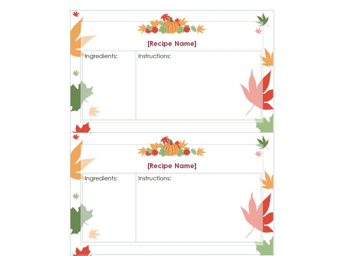 Free Thanksgiving Recipe Cards Recipe Cards Template Recipe Cards Printable Free Printable Recipe Cards