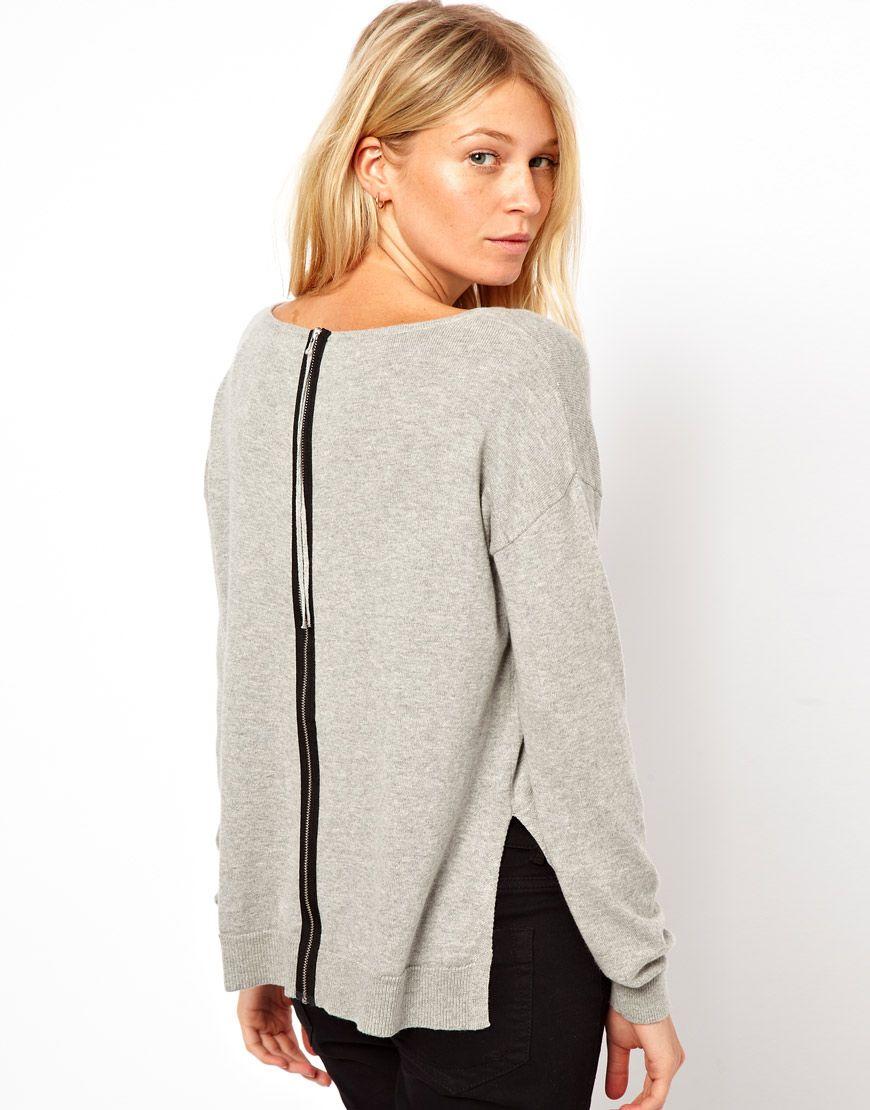 ASOS Sweater With Zip Back Detail | Oude trui nog een tweede kans geven? Naai een rits in de achterkant!