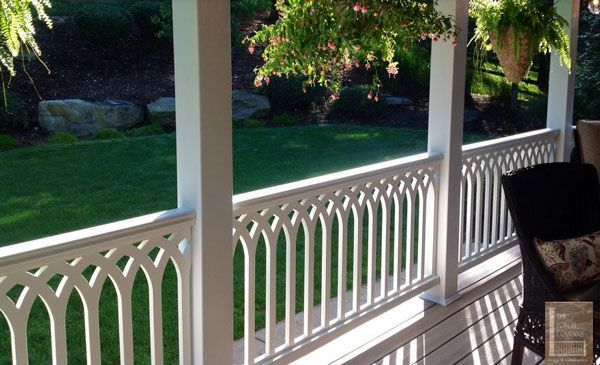 Vinyl Porch Railing Ideas For Porches And Decks Front Porch Railings Porch Design Porch Railing