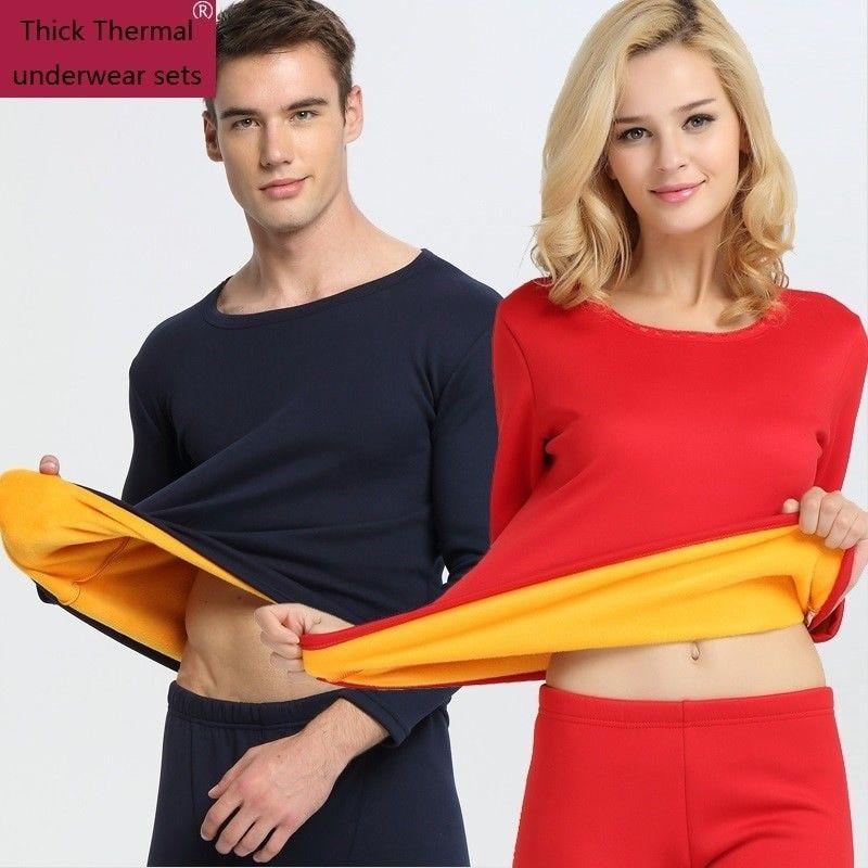 5a6fc34634 Men Thermal Underwear 2018 New Winter Women Long Johns thick fleece  underwear se  fashion