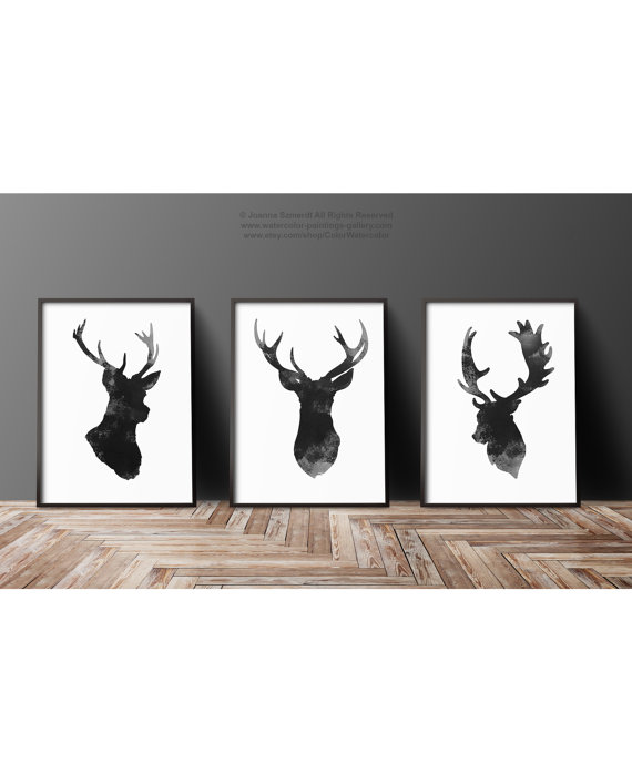Deer head set of 3 gray minimalist drawing black antlers - Dessin bois de cerf ...