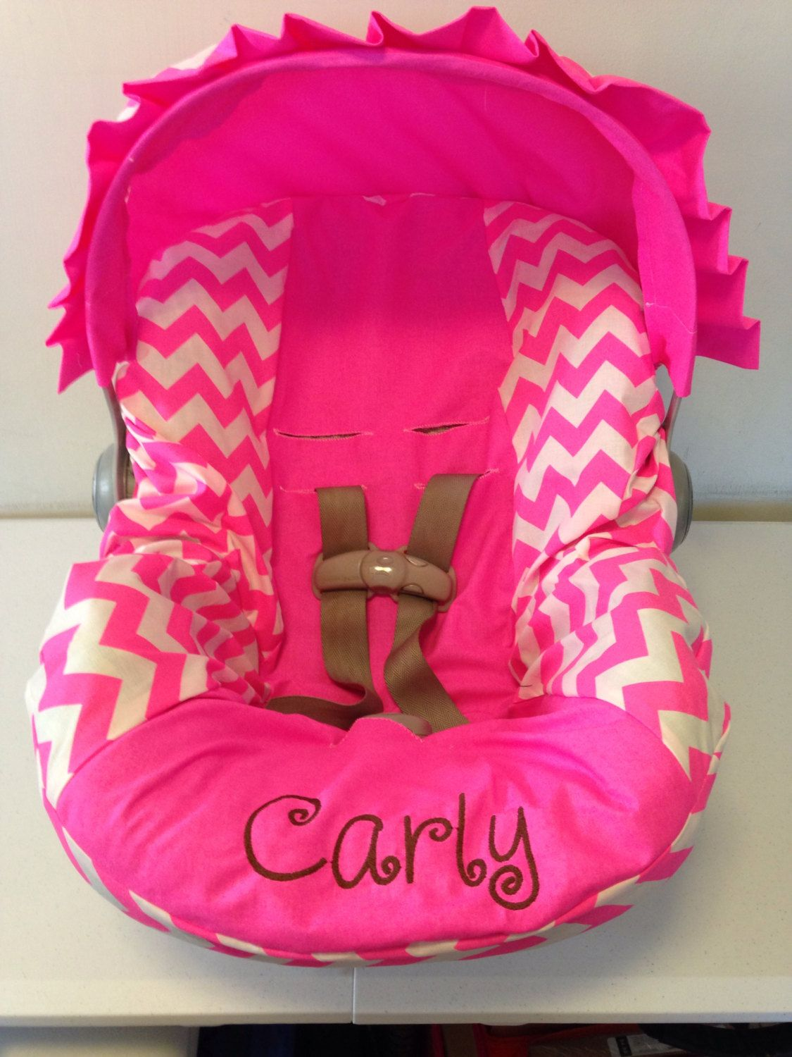 Infant Car Seat Or Convertible Neon Pink Chevron Infant Car Seat Cover And Canopy With