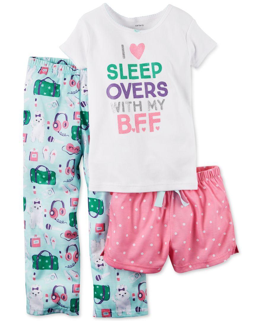 3c504363b85b Carter s Girls  and Little Girls  I Heart Sleepovers 3-Piece Pajama ...