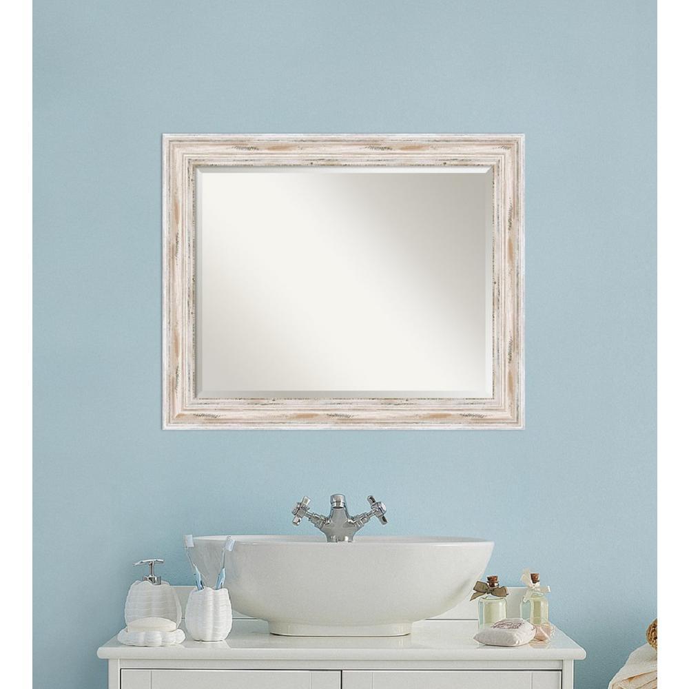 Amanti Art Alexandria 33 In W X 27 In H Framed Rectangular Beveled Edge Bathroom Vanity Mirror In Distressed Whitewash Dsw3572550 The Home Depot Bathroom Vanity Mirror Traditional Bathroom Vanity Traditional Bathroom [ 1000 x 1000 Pixel ]
