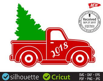 CHRISTMAS TREE TRUCK svg files Red Vintage Christmas truck 2018