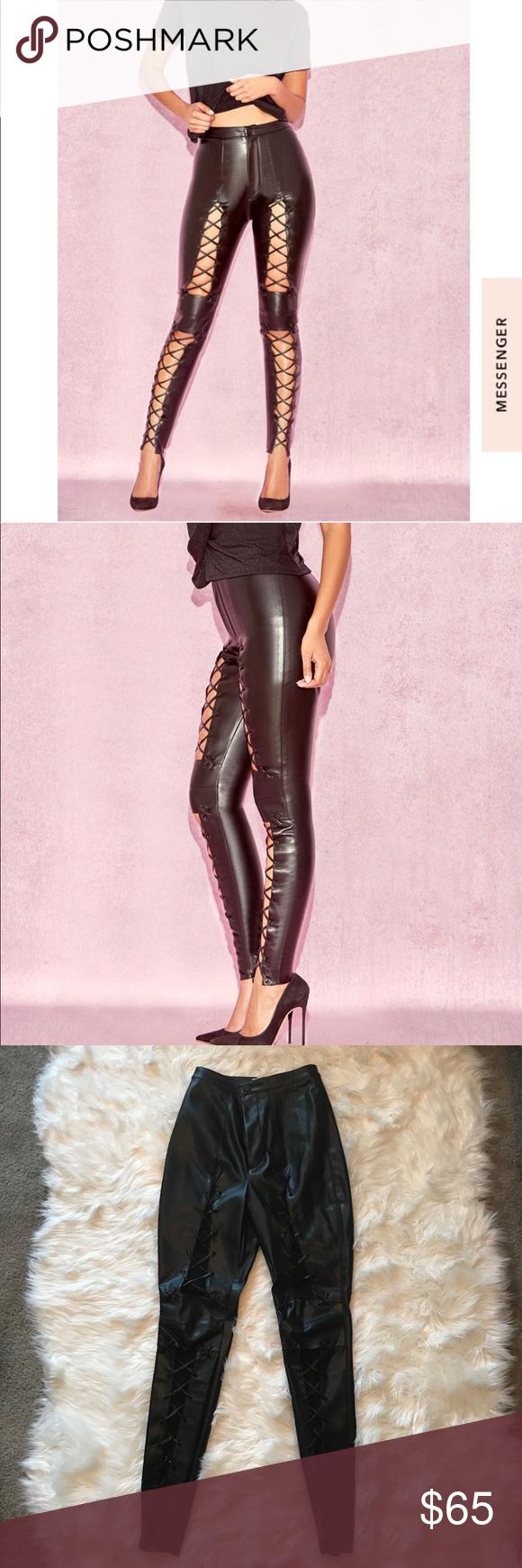 House Of Cb Black Vegan Leather Lace Up Pants Leather And Lace Vegan Leather High Waisted Pants