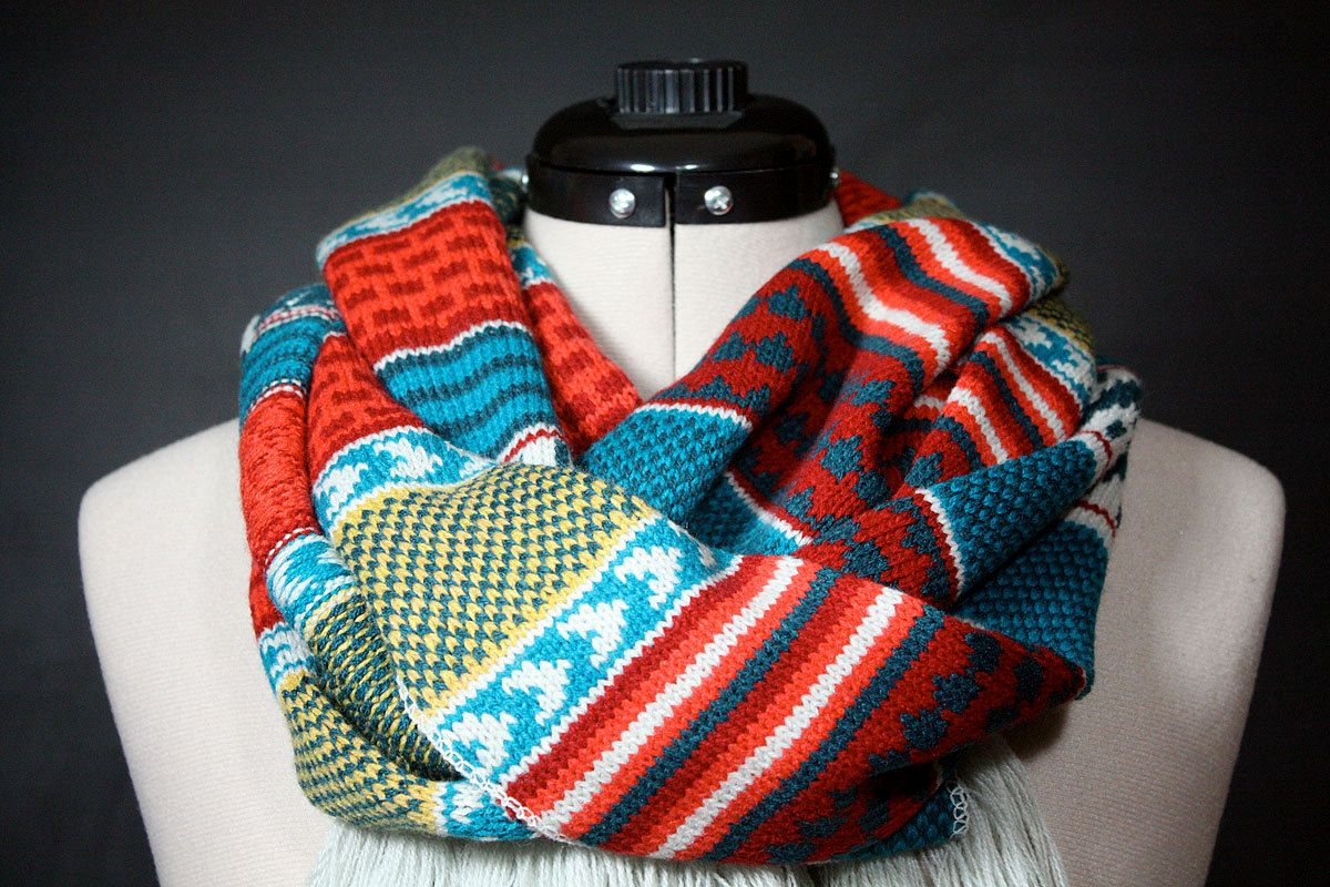 Knit Infinity Scarf with Scandinavian Pattern and Tassels, via Etsy ...