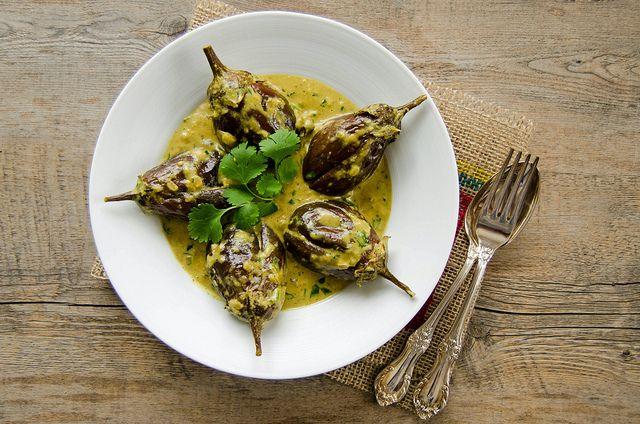 Bagara Baingan - Baby Aubergines/ Eggplants in a Hyderabadi Peanut Sauce by MichellePetersJones, via Flickr