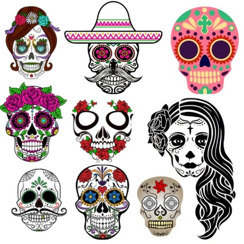 25 Day Of The Dead Skull Clipart Set For Personal Commercial Etsy In 2021 Day Of The Dead Skull Day Of The Dead Clip Art