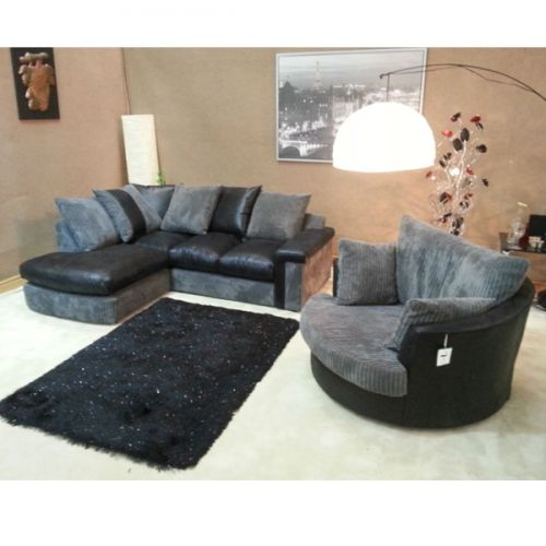 Verana Chaise Corner Sofa With Matching Swivel Cuddle Chair Available In Black Or Brown Colour Left Or Right Lounger Lugares